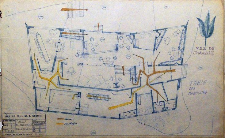 Clásicos de Arquitectura: Villa Planchart / Gio Ponti,planos originales de Gio Ponti - planta circulaciones