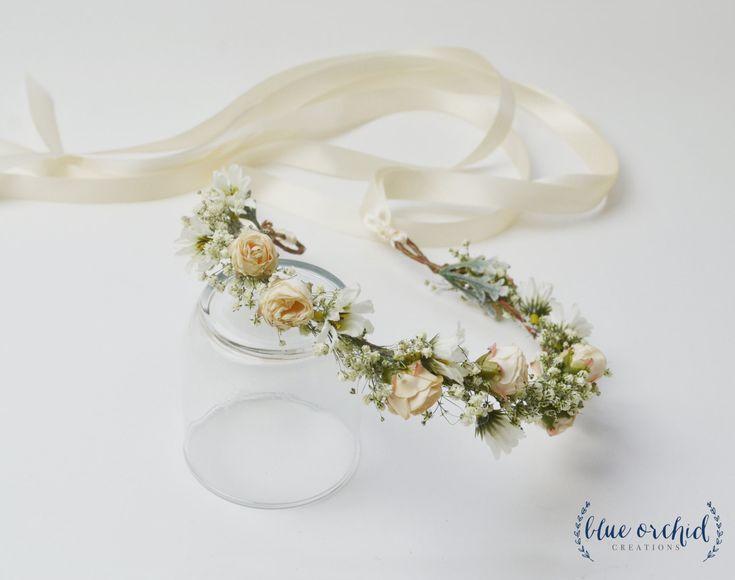 Flower Crown - Boho Flower Crown, Blush, Peach, Gypsophila, Silk Flower Crown, Wedding Crown, Baby's Breath Crown, Flower Girl Crown by blueorchidcreations on Etsy