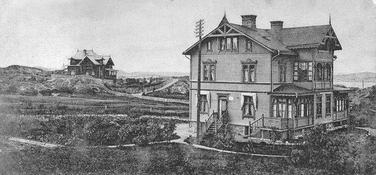 Denna unika bild från 1904 visar Dahlins eleganta villa som på den tiden inhyste den nyupprättade telegrafstationen på södra gaveln. På de trädbefriade bergen syns också Tomtebo