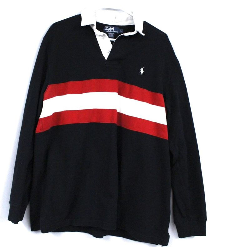 Vtg 90s Polo Sport Ralph Lauren Pony Black Red Striped Rugby Shirt Hip Hop Sz L | Clothing, Shoes & Accessories, Men's Clothing, Casual Shirts | eBay!
