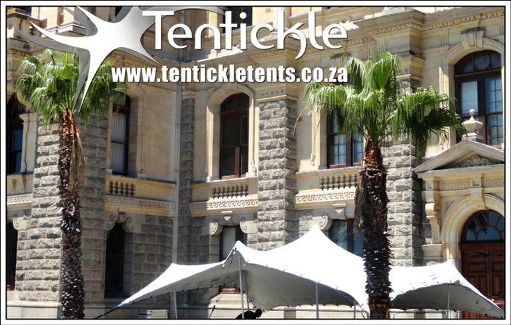White stretch tent in Cape Town's CBD