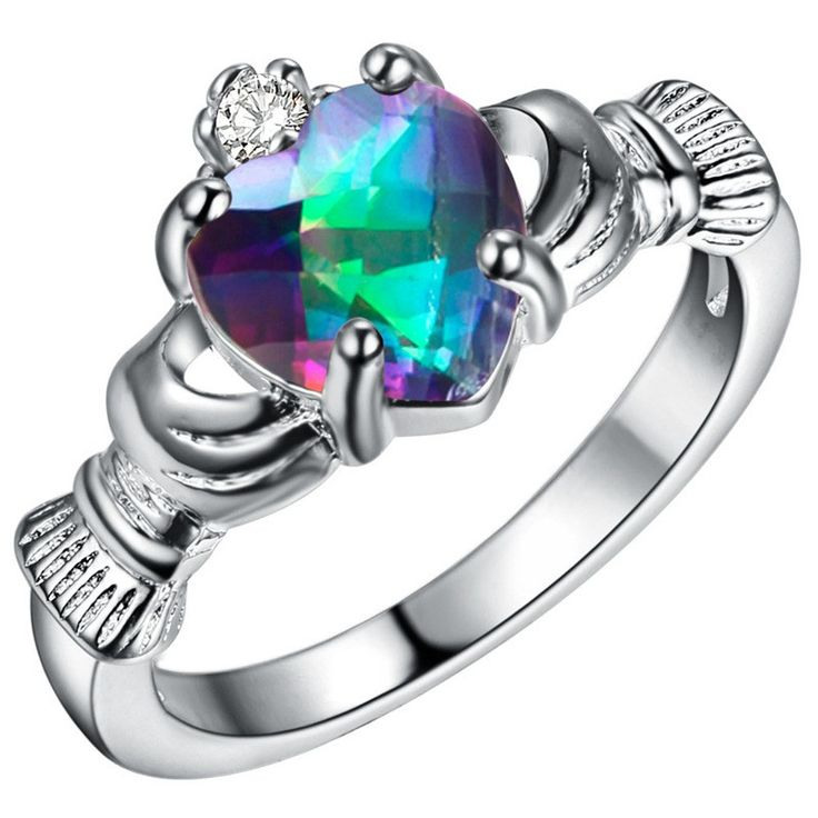 """Silver Plated Crystal Claddagh Ring """"With My Hands I Give You My Heart, Crown It With My Love"""". The Claddagh ring represents love with the heart, friendship with the hands, and loyalty with the crown."""