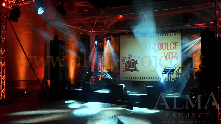 ALMA PROJECT @ Villa Gamberaia - stage & backline - moving heads - projector & screen red pinspots - 455