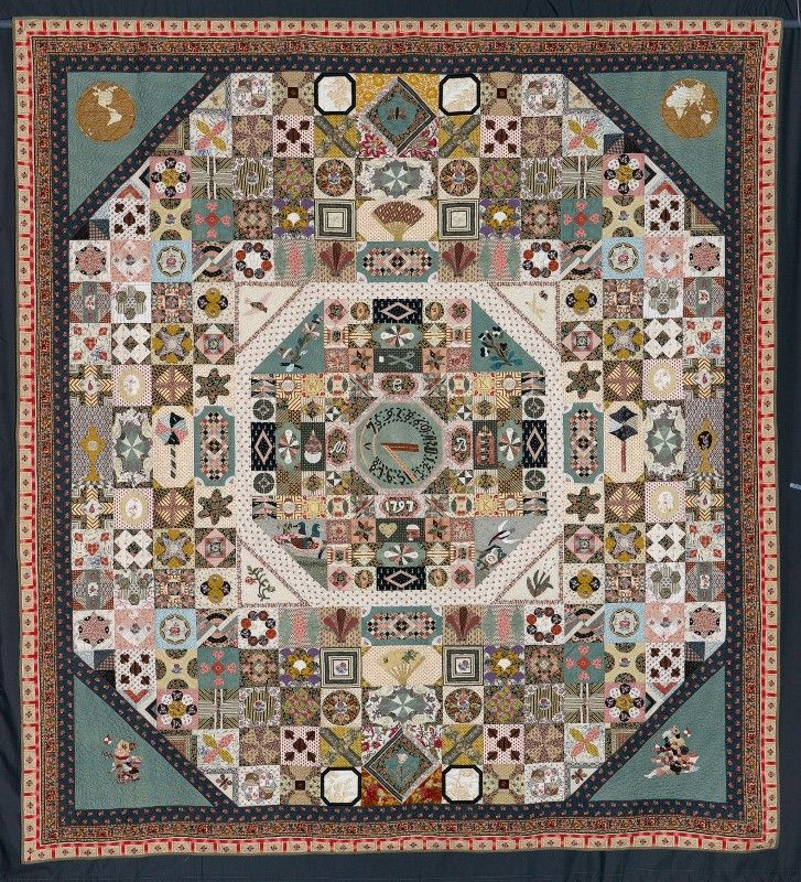 1797 Sundial Quilt - Appliqued and hand pieced.
