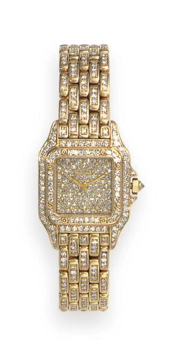 "A DIAMOND AND GOLD ""PANTHERE"" WRISTWATCH, BY CARTIER  #wristwatches  #watch"