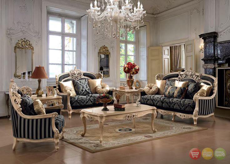 Traditional Style Formal Living Room Set By Home Design Black Upholstery Faded Gold Cream Trim