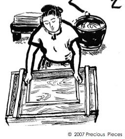 Woodcut of Japanese paper maker