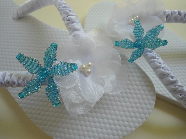 Wedding Sandals - White Bridal flip flops decorated with a blue starfish - Tiffany blue wedding flip flops.