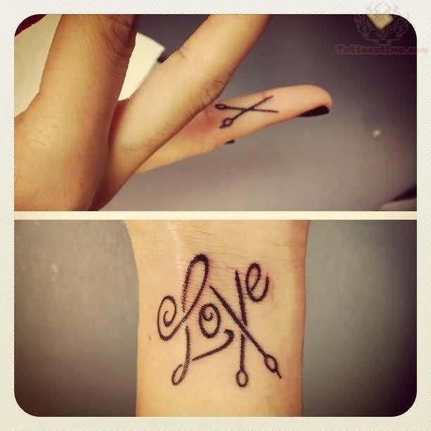 Love Scissor Tattoo on finger