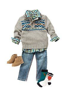 Fair Isle Guy Warm up his checked shirt and dino denim style with a Fair Isle sweater. Matching socks and boots are handsome additions.