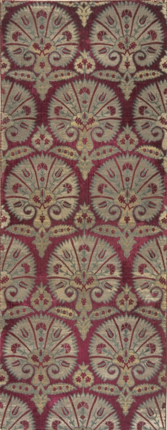 Textile Length  with Design of Stylized Carnations   LACMA Collections