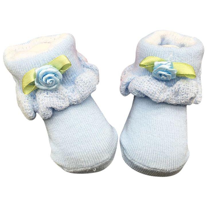 Симпатичные Мягкие Новорожденный Младенец Мальчик Девочка Хлопчатобумажные Носки 0 ~ 6 Месяц Цветок Кружева Носки
