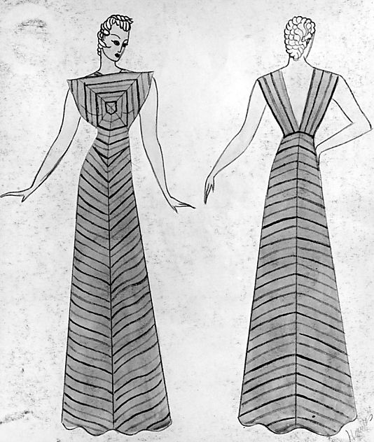 """Elizabeth Hawes, 1935.  """"Dry Goods Economist"""" dress.  The artful piecing of the fabric in this dress creates an interesting visual effect, drawing the eyes from the metallic braid shoulder straps with gold-tone ball button accents, to the center of the bodice where the pieces intersect, creating squares radiating out to the edges."""