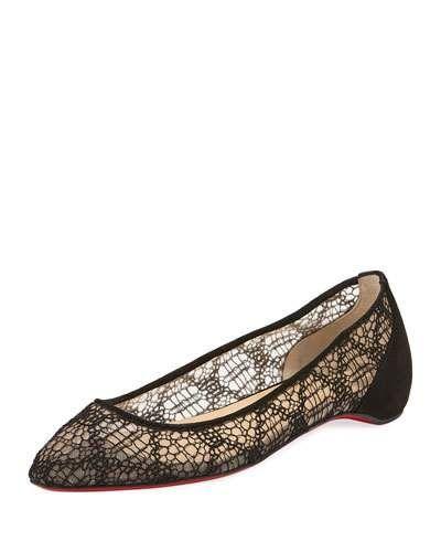 2b34c2281b4a X47XW Christian Louboutin Eloise Lace Red Sole Ballerina Flats ...