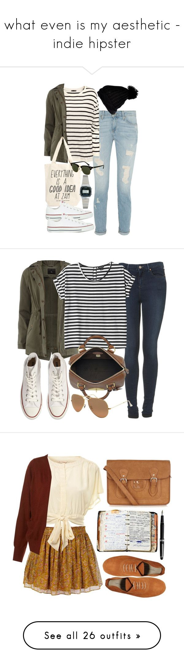 """""""what even is my aesthetic - indie hipster"""" by starrydancer ❤ liked on Polyvore featuring Paige Denim, H&M, Dorothy Perkins, River Island, Talented Totes, Converse, Rayban, Casio, Topshop and Monki"""