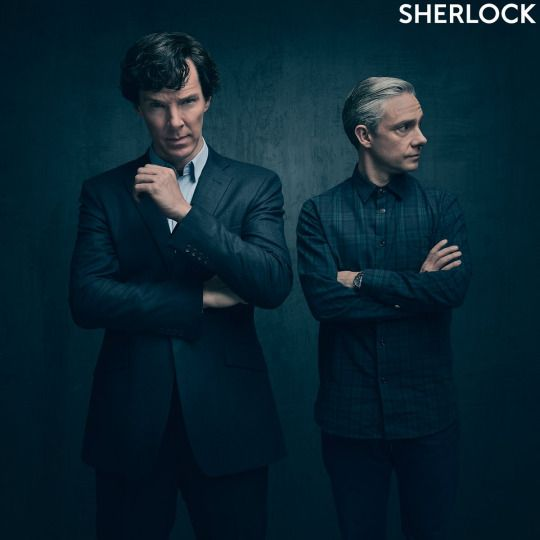 SHERLOCK (BBC) ~ S4 promo photo of Benedict Cumberbatch (Sherlock) & Martin…