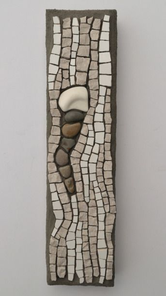 "Marble, ceramic tile, tumbled stone, and sea pottery mosaic by Julie Sperling (2014) -- 12.5"" x 3"""