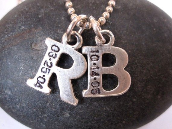 First letter of childs name & DOB. I love this idea, wonder if I can find the letters and use my stamp set and make it myself?