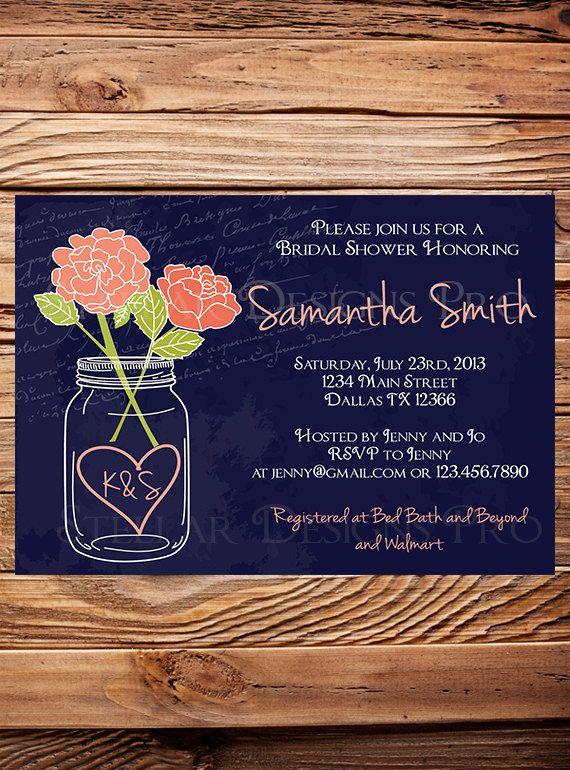 Mason Jar Roses Bridal Shower Invitation,Chalkboard, Roses, Mason Jar, Pink, Purple, Coral, Navy, Mason Jar Wedding Shower - Item 1217