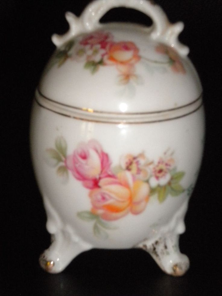 Vintage China Egg Shaped 3 Footed Trinket Box Roses Gold Trim w  Lid Unique Rare