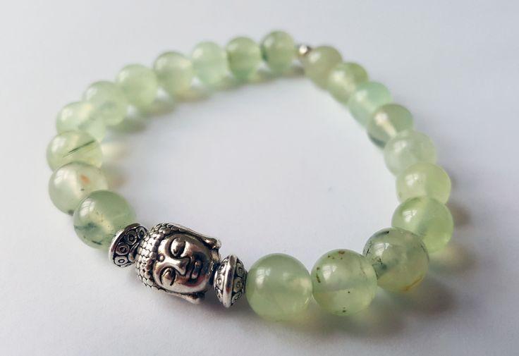 Unisex Genuine Prehnite Buddha Bracelet by Wild Lotus Jewellery