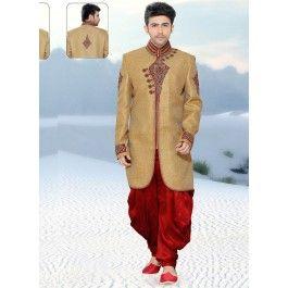 Fantastic Beige Colored Embroidered Silk Indo Western Sherwani 1112