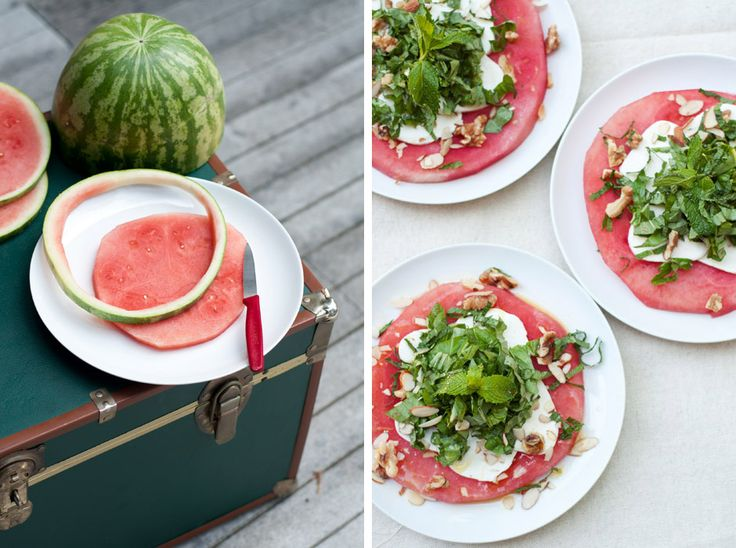 """Slice watermelon into approx 1 inch rings, then remove the rind from each slice with a small knife. Place one watermelon """"round"""" onto each salad plate, then top with a layer of thinly sliced fresh mozzarella , followed by a layer of finely chopped mint, basil  and a sprinkling of nuts"""