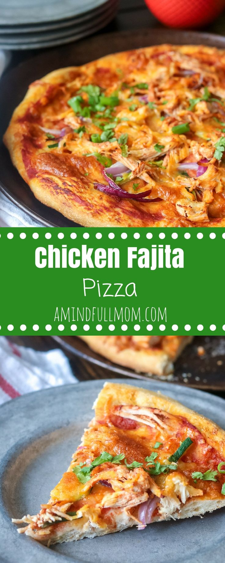 Chicken Fajita Pizza: All the flavors of a chicken fajita in pizza form. This fun twist on pizza, uses a slow-cooker chicken fajita mixture that makes assembling this pizza a breeze. Serve with a dollop of sour cream and a squeeze of lime juice for an aut