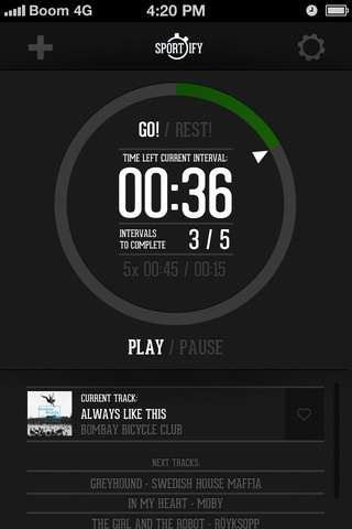 App concept for a Spotify connected training app. I have been missing a great app for interval training and miss my wonderful Spotify playlists so combining them to one app seems like a good idea. Still working out some of the functions in the app but couldn't stay away from making a design mockup. Might update with more info about the actual functionality of the app later.Some stuff to do:Check sizes of elements and texts.clarify what is interactive/what you can click or not.icons