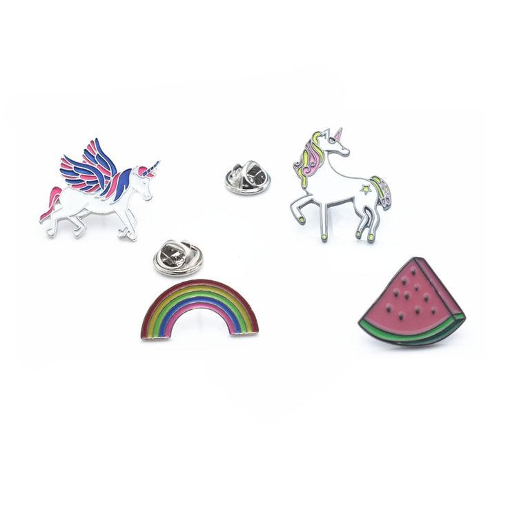 2016 New Cartoon Cute Metal Enamel Unicorn Rainbow Watermelon Brooches Pins Badge Fashion Charming Horse Jewelry For Women Gift