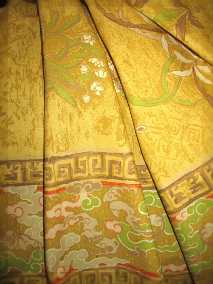 vintage fabric, chinese nightingale