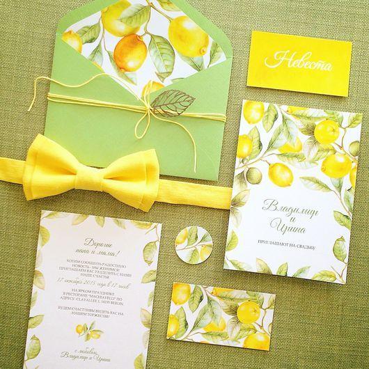 Свадебные аксессуары ручной работы. Ярмарка Мастеров - ручная работа. Купить Акварельные свадебные желтые приглашения Солнечные лимоны. Handmade.