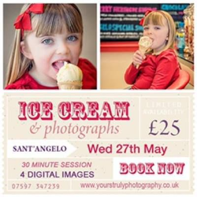 WETHERBY: Yours Truly Photographers will be at Sant Angelo's, Wetherby for an Ice Cream & Photograph day - booking in advance only