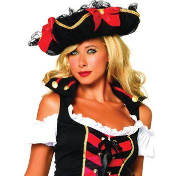 Costume Store - Pirate Hat w/ Chiffon : Costume Hats