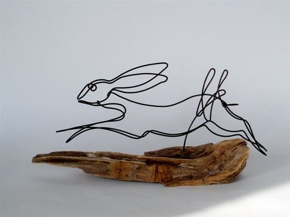 Bunny Wire Sculpture Reserved for Falkner Design by WiredbyBud