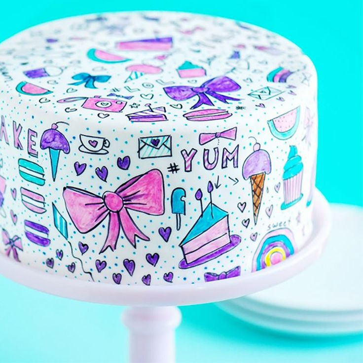 cómo decorar pasteles pintados a mano, Sweet Polit