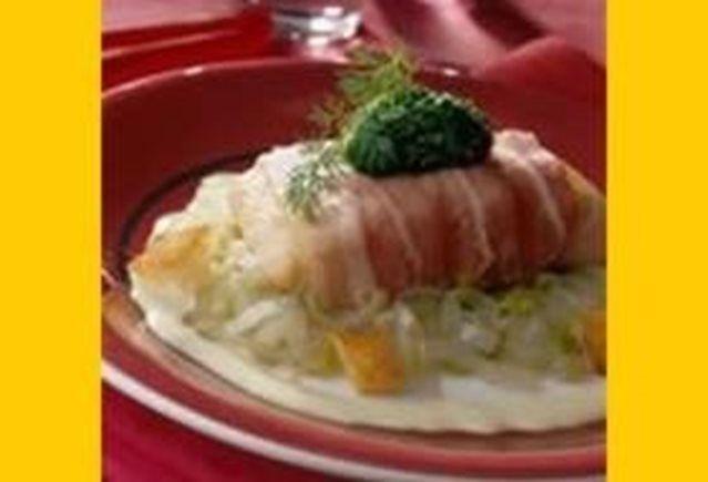 Pladijs met witloof en spinazie in blanke botersaus