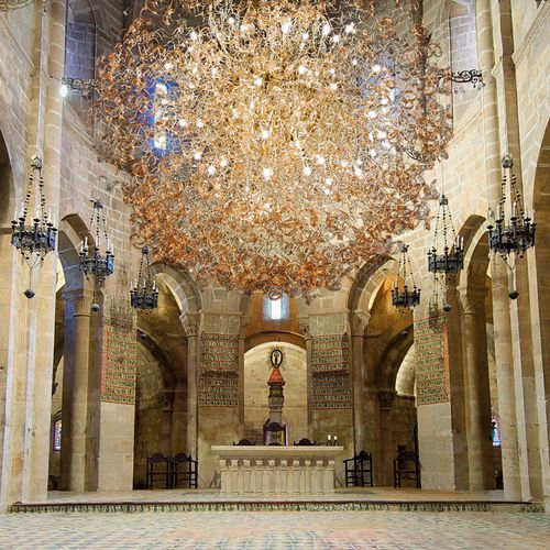 Contemporary chandelier / glass / metal / halogen ASTRO METAL LUX
