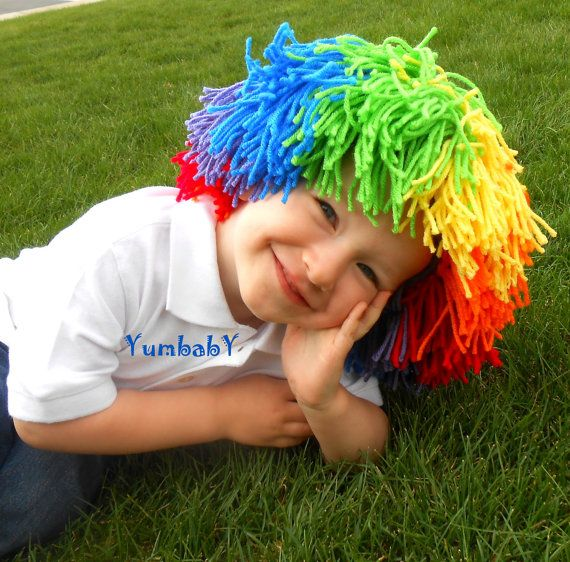 Clown Wig Child Halloween Costume Red Yellow Blue by YumbabY, $29.95