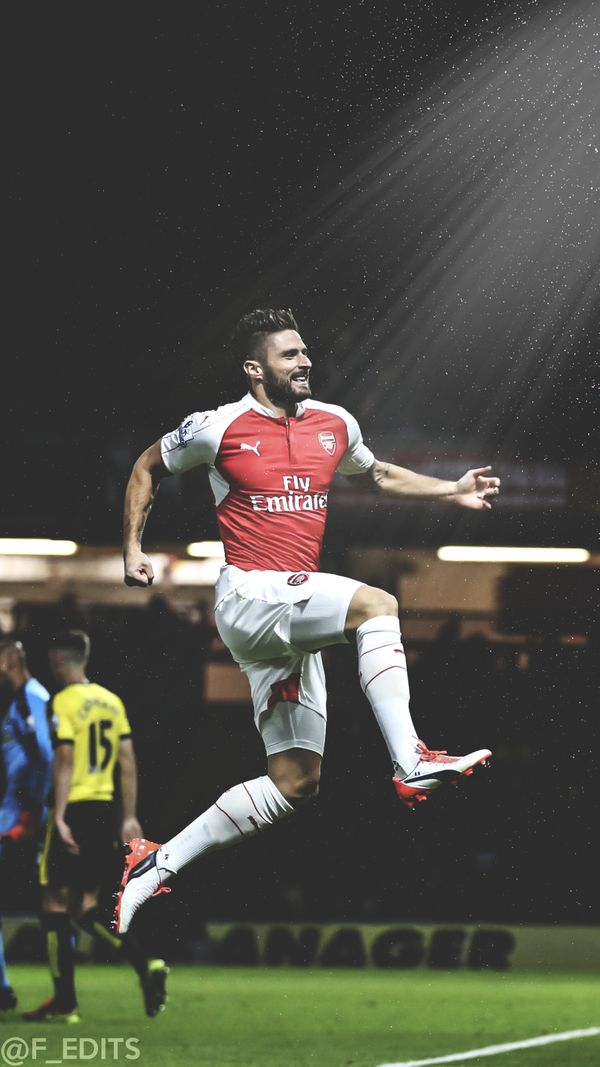 Olivier Giroud celebrates a goal. Ollie, it's been a while...let's get going again, mate!