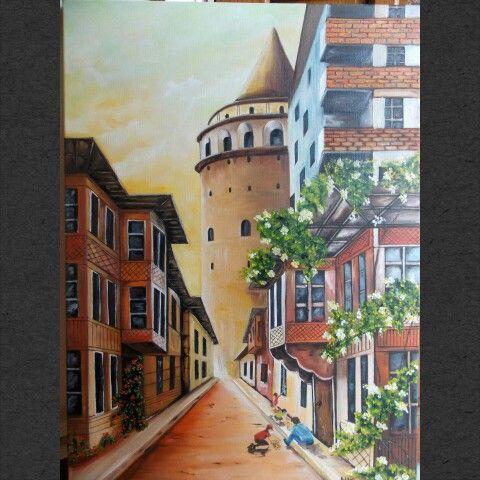 Yağlı boya galata kulesi