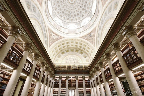 the interior of the National Library of Finland located in the centre of Helsinki.