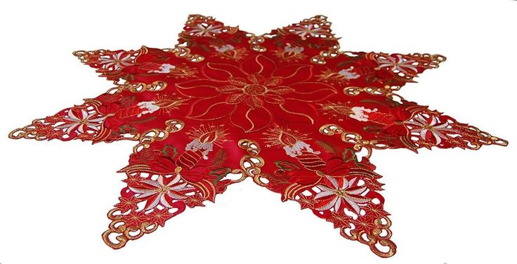 """Christmas Table Topper Centerpiece Red Embroidered Star Centerpiece 33.5"""" Decors #EcoSolDesigns"""