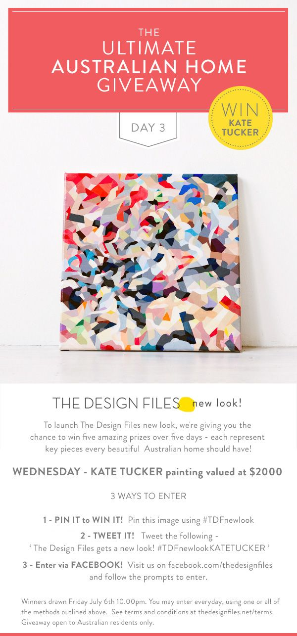 I don't suppose it would be right to win my own painting, but it also doesn't seem right not to pin it!  The Design Files gets a new look!  #TDFnewlookKATETUCKER