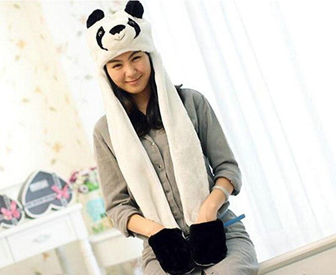 Amazon.com: Morality Charm Animal Panda Hat Long Scarf Snood Wraps With Pocket Gloves 3 In 1 Set: Clothing