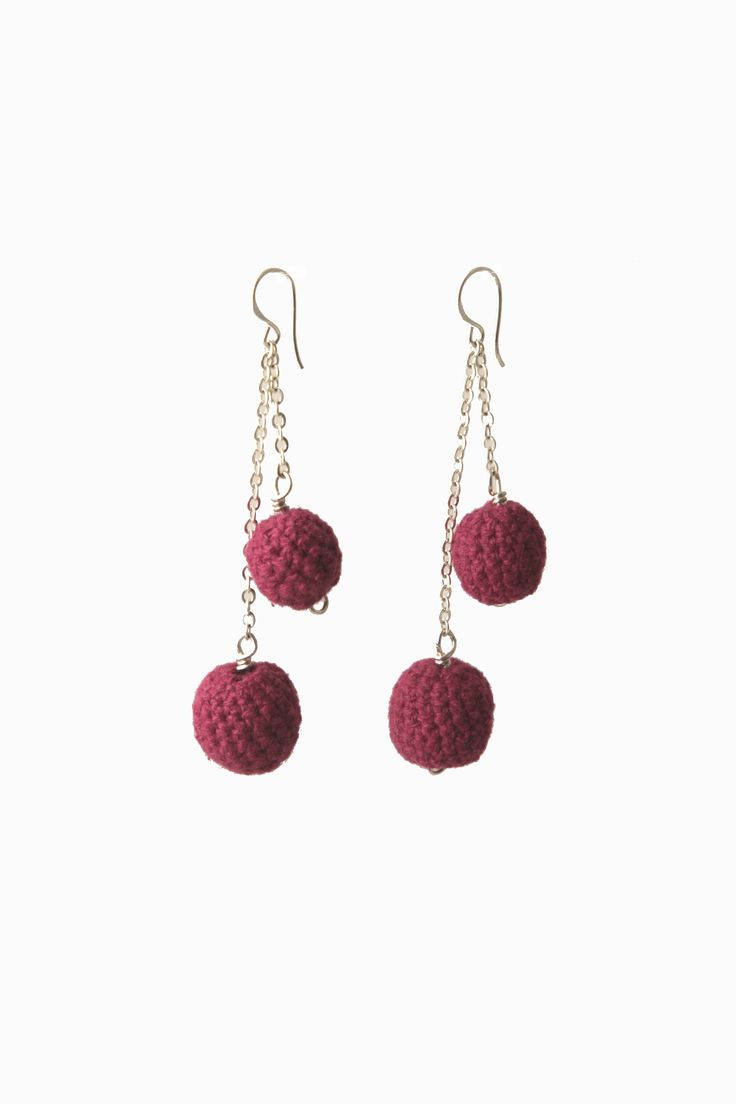 Silver chain crochet ball earrings in fun fuchsia!
