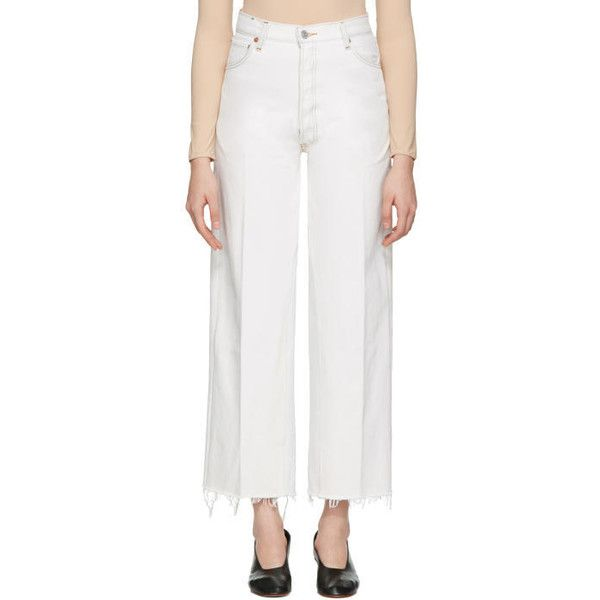 Re-Done White High-Rise Wide-Leg Crop Jeans (755 AED) ❤ liked on Polyvore featuring jeans, white, wide leg denim jeans, vintage high waisted jeans, high waisted distressed jeans, white high-waisted jeans and white wide leg jeans
