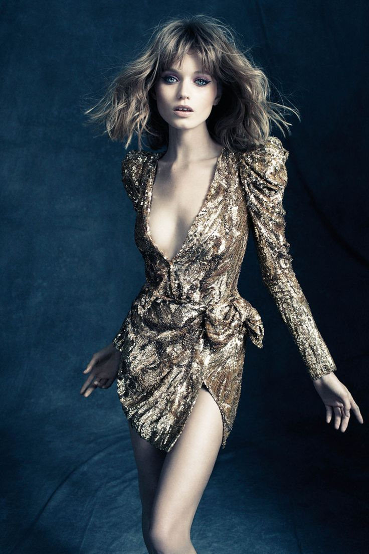 Abbey Lee Kershaw in Balmain, photographed by Alexi Lubomirski for the cover of Vogue Germany August 2010