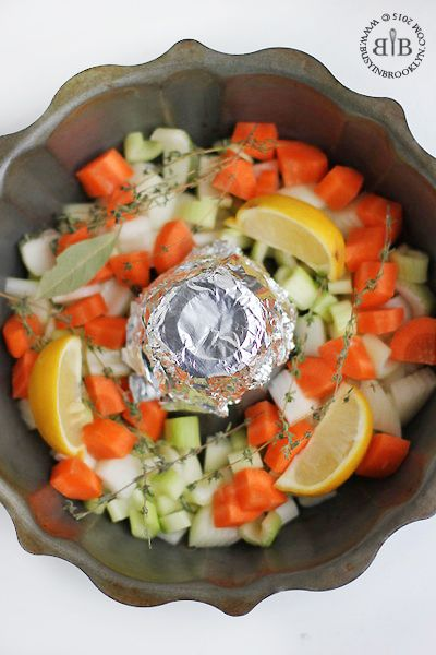 "When cooking ""rotisserie"" chicken in a bunt pan, cover the open center with foil to prevent drippings"
