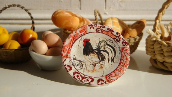 French Country Farmhouse Rooster Plate for by Twelvetimesmoreteeny, €2.80
